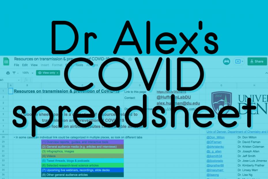 Dr Alex Huffman's COVID spreadsheet